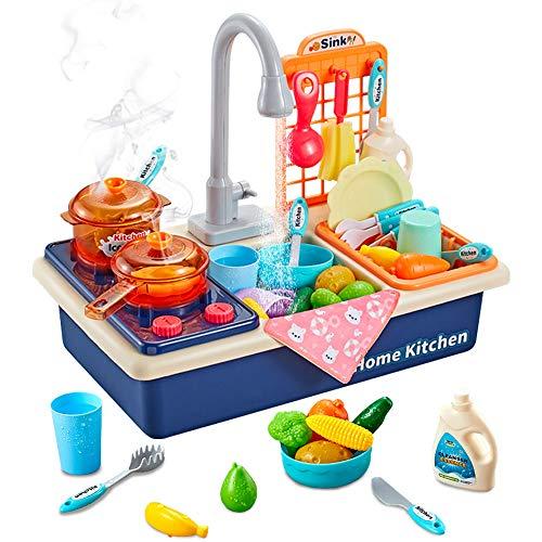Arkmiido Giocattoli da Cucina per Bambini, Giocattoli per Lavello da Cucina con Fornello Luminoso e Acustico, Utensili e Accessori per la Tavola, Gioco di Imitazione per Ragazzi e Ragazze