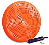 TTCJC Disc Wobble Cushion Inflated Stability Wobble disc ,Exercise Fitness Core Balance Disc(Explosion-Proof),Wiggle seat(Office & Home & School)- Pump Included. (Vibrant Orange)