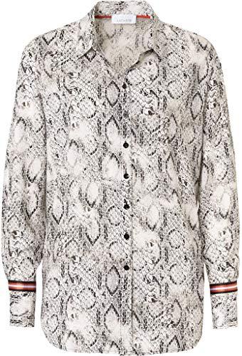 Just White Damen Bluse Größe 50 EU Schwarz (schwarz/weiß)