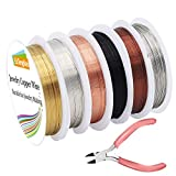 EuTengHao 6 Pack Jewelry Copper Craft Wire Jewelry Beading Wire for Bracelet Necklaces Jewelry Making Supplies (6 Colors,24 Gauge)
