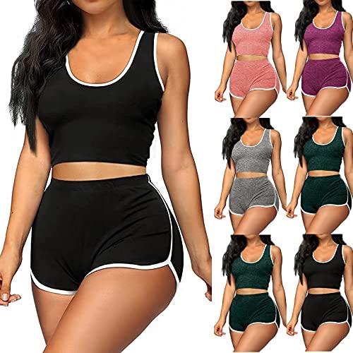 Julhold Chándales de mujer Casual de dos piezas Traje de verano sexy pantalones cortos traje