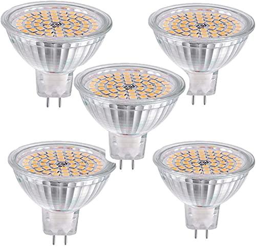 MR16 Bombillas LED (paquete de 5) -380lm 60LEDs 3W 3000K Blanco cálido, Bombilla halógena equivalente de 30W, Base de dos clavijas GU5.3, No regulable, para paisaje, foco empotrado, iluminación