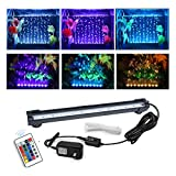 Aquarium air Bubble Light, RGB LED Fish Tank Light with 16 Colors 4 Modes, Remote Control IP68 Submersible LED Aquarium Lamp with for Turtle Tank, Betta, Shrimp(7.1inch Light Tube(with Remote))