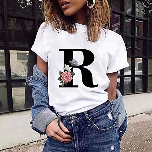 VEMOW Camiseta de Mujer Manga Corta Suelta con Cuello Redondo Talla Grande, Moda Impresión de 26 Letras Inglesas Basica Suelto Verano Camisa Tops Casual Fiesta T-Shirt para el Mejor Amigo(R,M)