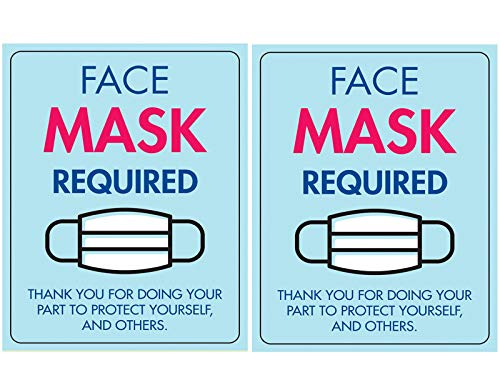 2 Pack 10 x 7,5 covid 19 Corona Signs Stickers for Business, Please wear face mask Required Virus Safety Sign No mask no Entry
