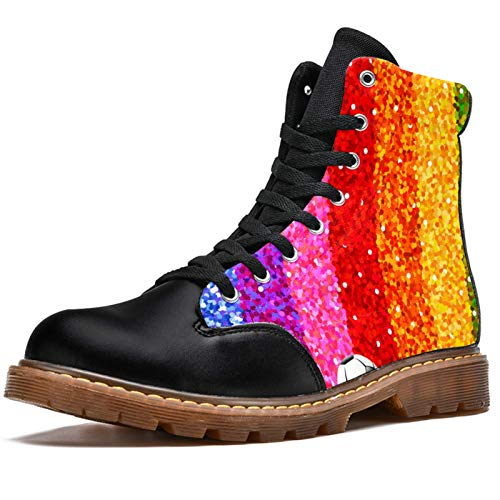 LORVIES - Botas de fútbol para hombre, diseño de rayas de arcoíris, (multicolor), 39 EU