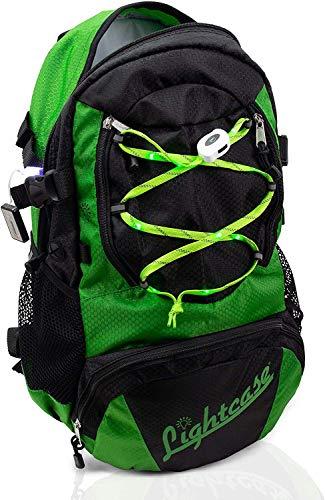 LIGHTCASE Rucksack mit LED | Beleuchtung Innen & Außen | LED Rucksack wasserabweisend | Aufladbar via USB | Perfekt für Sport & Freizeit | Fahrradrucksack | Grün | Mehr Sichtbarkeit im Straßenverkehr!