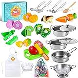 Juego de juguetes de cocina con utensilios de cocina de acero...