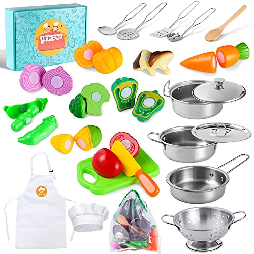 Kitchen Pretend Play Toys with Stainless Steel Cookware Pots and Pans Set, Cooking Utensils, Apron & Chef Hat, Cutting Vegetables for Kids, Girls, Boys, Toddlers
