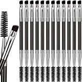 12 Packs Duo Eyebrow Brush, Spoolie Brush and Angled Brow Brush, Multi-functional Mini Eyelash Brush for Tinting Angled Eyebrow, Suitable for Cream Gel (Silver)