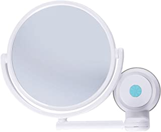NYDZDM Wall-Mounted Makeup Mirror Bathroom Folding Beauty Mirror 360 ° Rotating Cosmetic Mirror Plastic