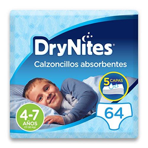 DryNites - Calzoncillos absorbentes para niño - 4 - 7 años (17-30 kg), 4 paquetes x 16 uds (64 unidades)