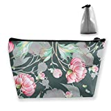 Peony Pattern with Buds U Jpg Travel Cosmetic Case Box Portable Train Cases for Cosmetics