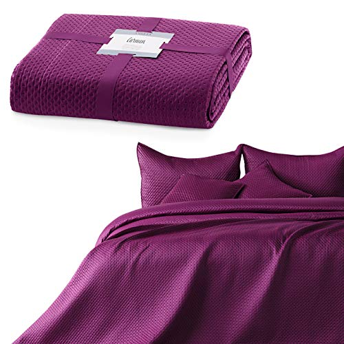 AmeliaHome Couvre-lit 240 x 260 cm violet Jeté de lit double face gaufré mat Satin Carmen