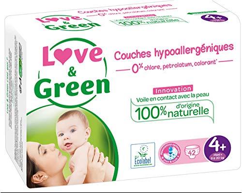 Love & Green - Couches Bébé Hypoallergéniques 0% - Taille 4+ (9-20 kg)