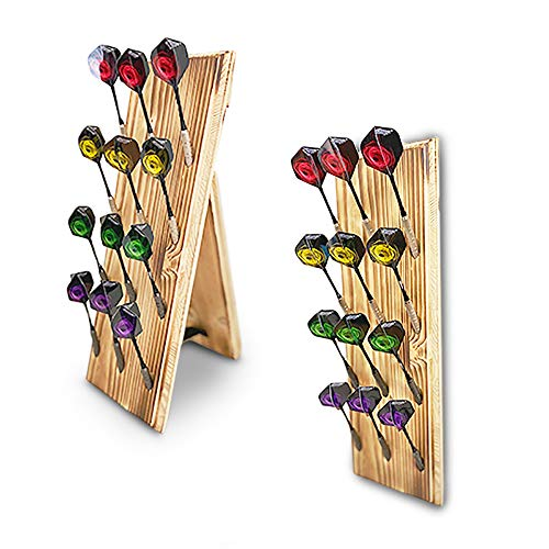 Premium Holz Dartpfeile Display Stand -Dart Pfeile - Lagerregal - Dartständer bieten Platz für 12 Dart Pfeile (4 Set) ( Soft-Dartpfeile/Steel-Dartpfeile ) Standfunktion & Wandhalterung