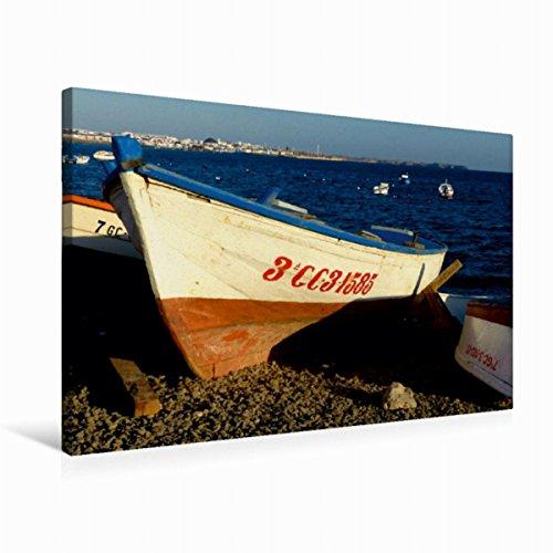 CALVENDO Premium Textil-Leinwand 75 cm x 50 cm quer, Boote auf Lanzarote | Wandbild, Bild auf Keilrahmen, Fertigbild auf echter Leinwand, Leinwanddruck: Auf große Fahrt, Kapitän Mobilitaet Mobilitaet