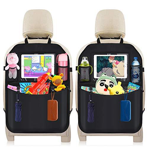 Auto Rückenlehnenschutz,DIAOPROTECT 2 Stück Auto Rücksitz Organizer für Kinder, Wasserdicht Autositzschoner mit Touch Screen Ipad Tablet Halter und Große Taschen,Kick-Matten-Schutz für Autositz