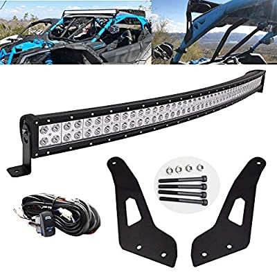 """Dasen Compatible with Can-am Maverick X3 2017 2018 2019 50"""" 288W Off-Road High Power Curved LED Light Bar ? Upper Roof Windshield Mount Brackets w/Wiring Kit"""
