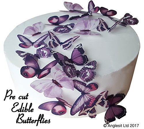 24 X PRE-Cut Beautiful Medium Purple Butterflies Edible Rice/Wafer Paper PRE Cut Cupcake Cake Dessert Toppers Birthday Party Wedding Baby Shower Halloween Decorations (Medium)