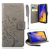 AROYI Lederhülle Samsung Galaxy A10 Flip Hülle + panzerglas, Samsung Galaxy A10 Wallet Hülle Handyhülle PU Leder Tasche Hülle Skin Ständer Schutzhülle für Samsung Galaxy A10 grau