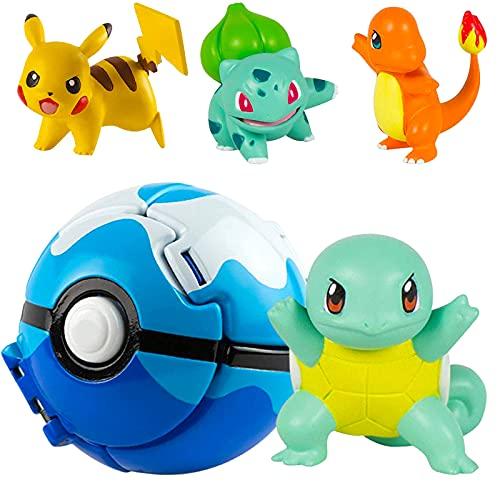 Pokemon Ball Pokemon Throw N Pop Ball con 4 figuras de acción de Pikachu – Lancer y Pop Pelotas Pokemon para niños o niñas o regalos de cumpleaños para niños