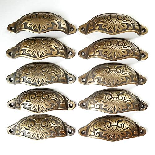 10 Ornate Apothecary Cabinet Drawer Cup Pull Handles Antique Victorian Style 3-1/2'cntr #A1
