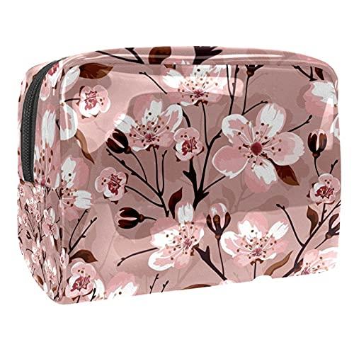 Bolsa de cosméticos para Mujeres Flor de Flor de durazno Bolsas de Maquillaje espaciosas Neceser de Viaje Organizador de Accesorios