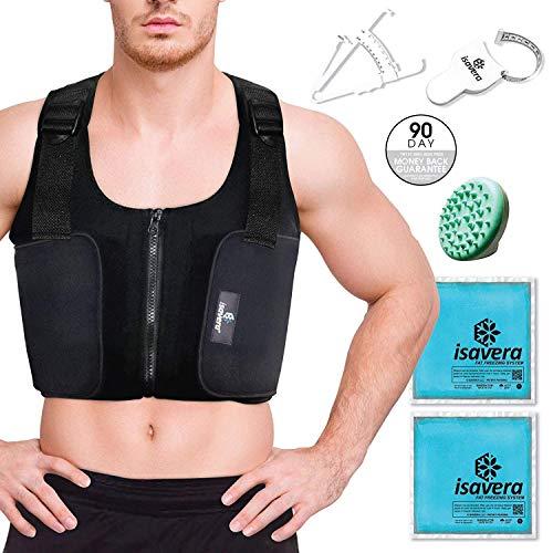 Isavera Man Boobs Fat Freezing Vest – Chest Shaper Breast Reduction Shirt for Men – Gynecomastia Compression Vest – Comfortable & Breathable – Man Boob Chest Sculpting – Pecs Shaper Support
