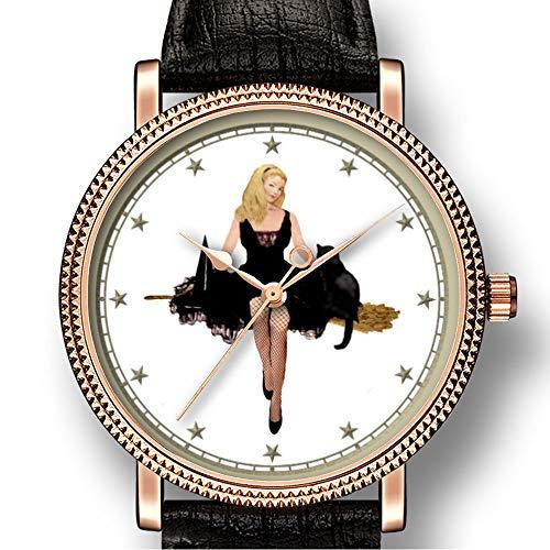 Persoonlijkheid kunst mannen Goldtone horloge kwarts leer casual horloge-155.sabrina de tiener heks op haar bezem