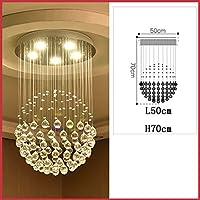 HLL Novelly装飾シャンデリア、クリスタル天井ランプLed 3ギア変色リビングルームベッドルーム天井ランプバークラブ装飾天井ライト,三色ライト-L50Cm * H70Cm