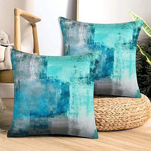 Alishomtll Set di 2 federe per cuscino 45 x 45 cm, morbide federe decorative per divano, camera da letto, turchese, grigio