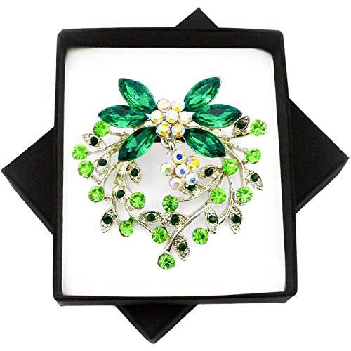 New Green Crystal Silver Brooch Dangle Flower PIN for Women in Black Presentation Box from UK Seller