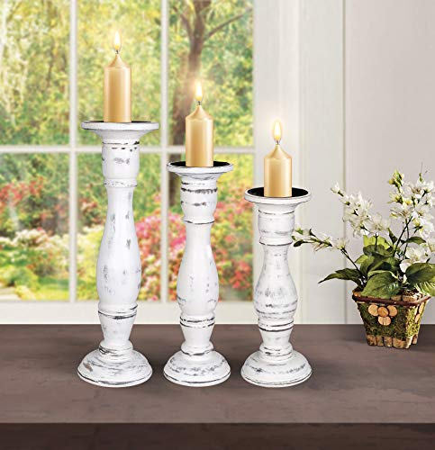 Set of 3 Wooden Pillar Candle Holders, Ideal for LED and Pillar Candles, Gifts for Wedding, Party, Home, Spa, Reiki, Aromatherapy, Votive Candle Garden - 16 Inch, 14 Inch, and 12 Inch - White Antique