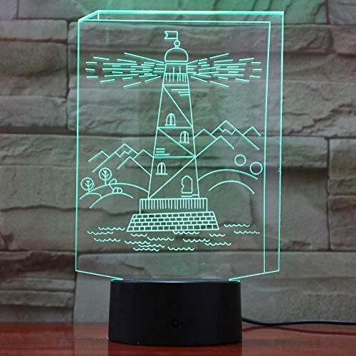 Luces LED 3D Forma de torre de construcción 7 colores cambiantes Luz de noche para bebés Decoración interior Iluminación USB Touch lamparas 795
