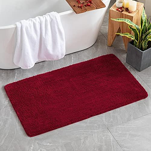 tappeto cucina 70x120 MIULEE Tappetino da Bagno 1 Pezzi Assorbente Antiscivolo con Tappeti ad Alta Idroscopicità in Microfibra Morbido per Camera da Letto Cucina Ingresso 70X120 CM Rosso