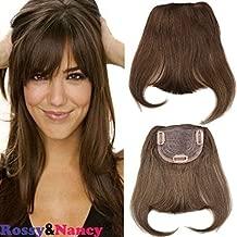 Rossy&Nancy #4 Brazilian Human Hair Clip-in Hair Bang Full Fringe Short Straight Hair Extension for women 6-8inch