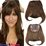 Rossy&Nancy #4 Brazilian Human Hair Clip-in Front Hair Bang Hairpiece Full Fringe Short Straight Hair Fake Bangs Extension for Women 6-8inch