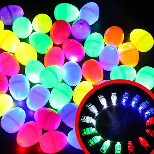 48 Pcs Pre filled Easter Eggs with Bright Finger Lights for Kids Easter Eggs Hunt Glow in Dark product image