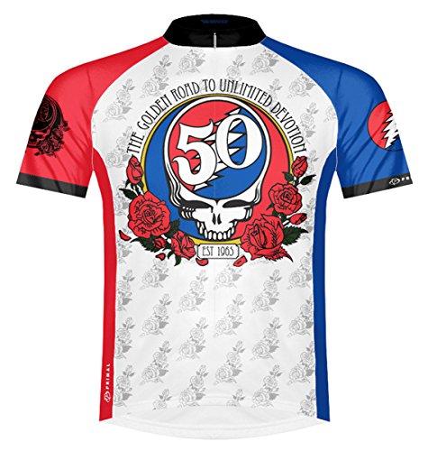 Primal Wear Grateful Dead 50th Anniversary Cycling Jersey Men's Medium Short Sleeve White