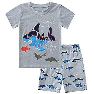 Enfants Cheris子供パジャマ 男の子 上下セット 半袖Tシャツ+ハーフパンツ キッズ 部屋着 綿 ルームウェア 夏 ボーイズ 子供服 男児 女の子 ショートズボン キャラクター サメ柄140