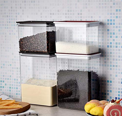 Caja De Almacenamiento Transparente De Plástico De 4 Piezas para Cocina con Tapa, Cuadrada Hermética Reutilizable, Utilizada para Almacenar Hierbas, Bocadillos, Frutas Secas, Limo, Té