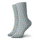 Calcetines suaves de media pantorrilla, adornos gráficos de peces de colores en el mar inspirados en fondo azul acuario, calcetines para mujeres y hombres mejores para correr