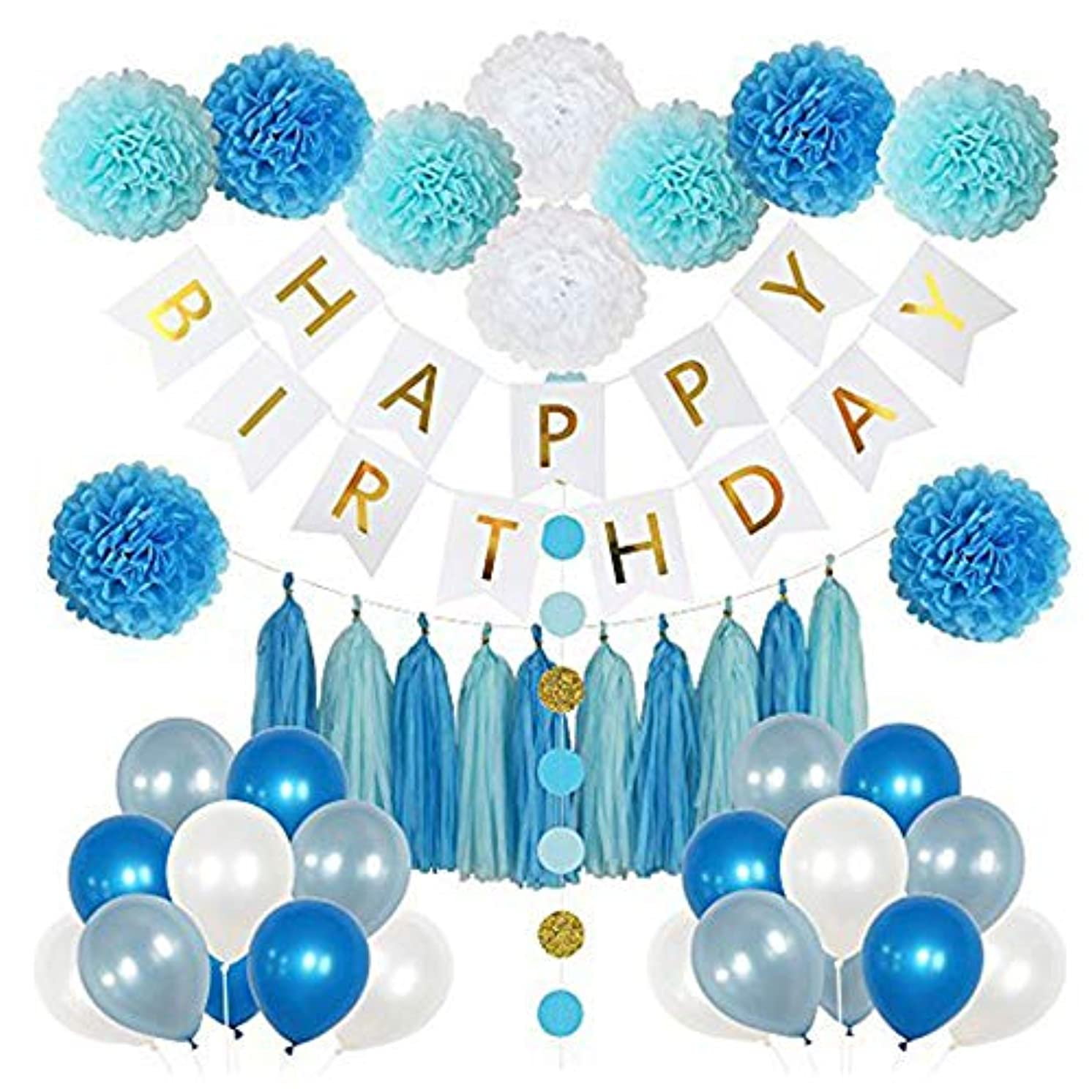 Axgo Happy Birthday Party Decoration Set Paper Poms Flowers, Tassel, Balloons, Banner and Round Dots Garland, Blue