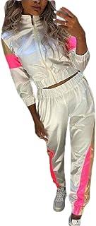 Women 2 Piece Outfits Tracksuit Jumpsuits Lightweight Windbreaker Pullover Jacket Pants Set