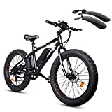 ECOTRIC Fat Tire Electric Bike Beach Snow Bicycle 26' 4.0 inch Fat Tire ebike 500W 36V/13AH Electric Mountain Bicycle with Shimano 7 Speeds Lithium Battery - Black/Orange/Blue (Black)
