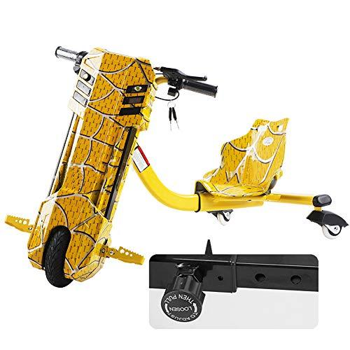 Kickroller Elektro Motor Dreirad 360 Electric Drift Dreirad 3-Stufiges Design Mit Einstellbarer Länge Hinzugefügt Geeignet Für Kinder Über 6 Jahre,Gelb