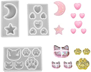 Daimay Moldes de fundición de joyas Molde colgante de silicona Moldes de resina Fabricación de joyas herramientas de bricolaje artesanal - 3 paquetes - Gato Pata Luna Estrella Corazón