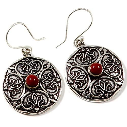 Goyal Crafts jaspe rojo plateado plata Natural piedra pendiente joyería GGTER03G