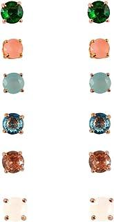 Hypoallergenic White Cubic Zirconia Stud Earrings for Women Clear CZ Round Stud Earrings Set Ear Jewelry Plated